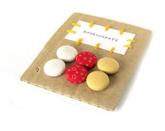 SALE Set of fabric earrings - gift for her - red stud earrings - yellow orange button earrings - white post earrings