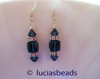 BEAUTIFUL Swarovski Crystal Earrings in Gorgeous Montana Blue