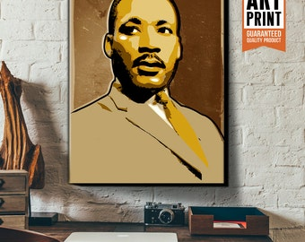 Canvas, Art Print, Portrait of Martin Luther King Jr, Poster size, Canvas Art Print, available in 18x24 or 24x36.