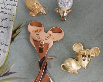 4 Vintage MOUSE Animal Pin Brooch Lot