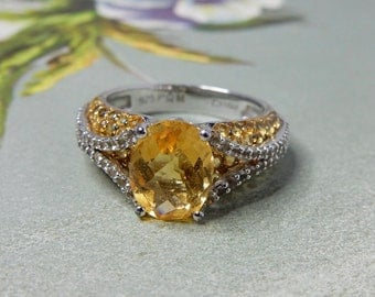 Sterling Silver / Cushion Cut Citrine & Diamonique Ring Size 7    NDE35
