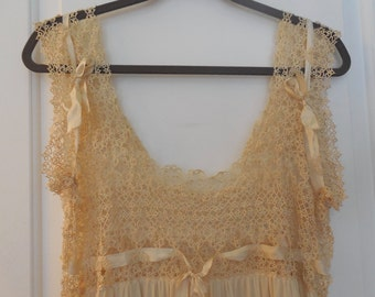 Antique Tatted Silk Lingerie Night Gown