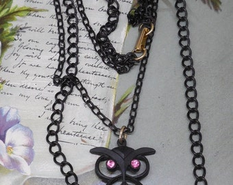 Vintage BLACK OWL Pendant Necklace on Double Chain w/ Pink Eyes