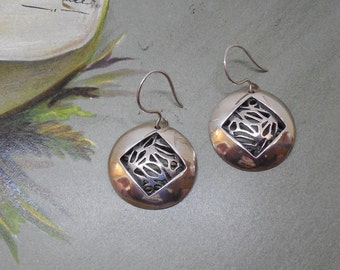 Sterling Silver Dangle Disk Earrings Openwork Bamboo Design    NM22