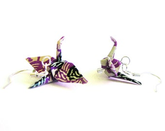 Origami Crane Earrings Purple Cream and Black