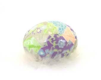 Easter Egg Japanese Washi - Geometric Purple Pink and Green with Flowers