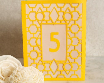 Jewel Table Numbers, Table Number Luminaries, Art Deco Table Numbers, Table Markers, Luminaries, Paper Luminaries / Laser Cut Table Numbers