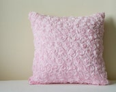 Light Pink Rosette Pillow Cover , 3-D Pink Roses Cushion Cover , Powder Pink Rose Decorative Pillow , Pink Rose Scatter Cushion