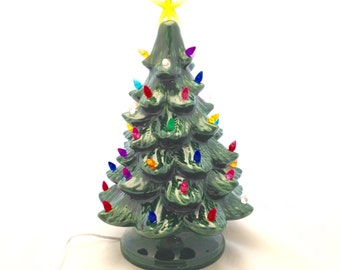 """Ceramic Christmas Tree with Lights - 13"""" inches Tall - Green Ceramic Light Up Tree"""