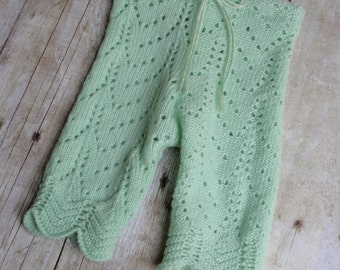 Newborn Photo Prop Pants - Baby Girl Outfit - Newborn Pants - Upcycled Pants - Baby Prop Lace Pants - Capris Length-Mint Green-READY TO SHIP