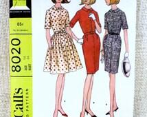 Vintage Pattern Simplicity 8020 Vintage 1960s Misses One Piece Full Skirt Shirtwaist Dress & Cummerbund Bust 38