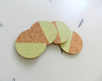 Mint Geometric Cork Coasters - Round Cork Coasters - Housewarming Gift - Dip Dyed Coasters - Color Block Coaster - Drink Coaster Set