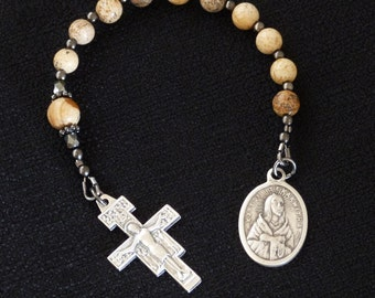 San Damiano crucifix, St Kateri and St Valentine One Decade Rosary