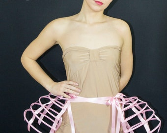 Two pieces worn together double pannier pink ribbon and lacing Crinoline long cage hoop bustle