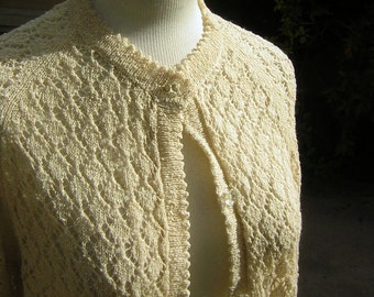 Vintage Cardigan Sweater Ivory Open Pointelle Knit 1960s Cardie Perhaps Hong Kong - Medium