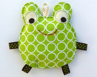 Filip the Frog, Baby Toy, Crinkle Toy, Great Unisex Baby Gift , Apple Lime Green