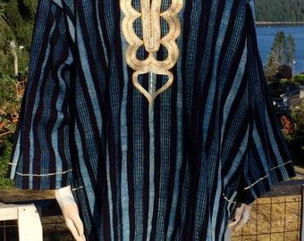 Vintage Ethnic Embroidered Bohemian PLUS Size StriPed Kaftan & Shorts XXL XXXL