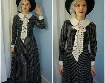 Amazing 70s Womens Vintage Striped Maxi Dress Polka Dot Bow and Peter Pan Collar Modern Size Small Medium