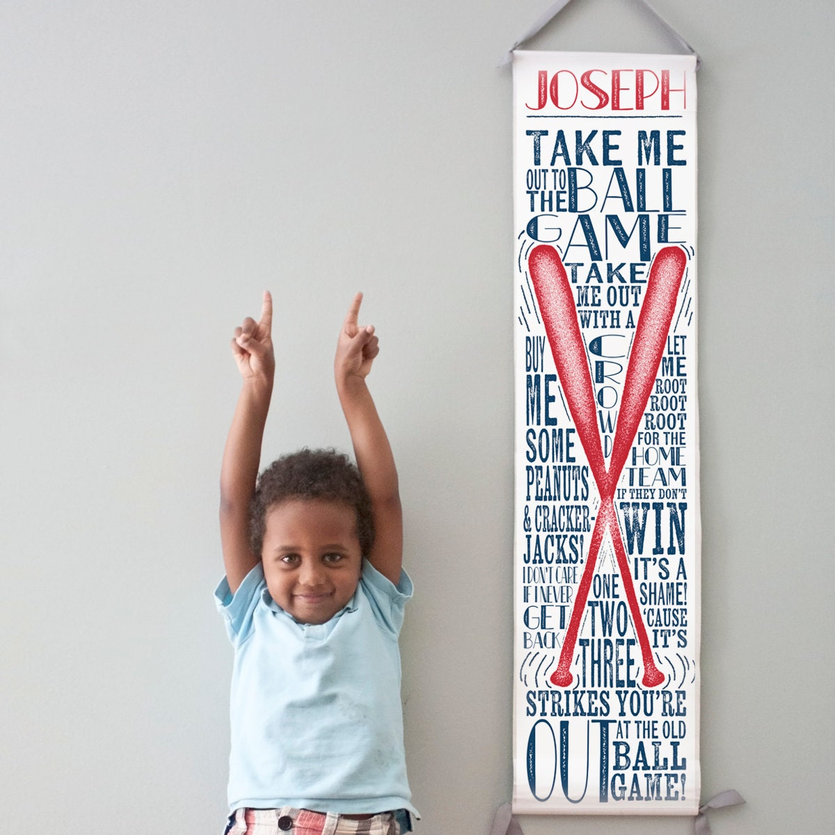 Custom/ Personalized Baseball canvas growth chart with your little one's name and team colors