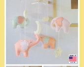 Baby Crib Mobile, Baby Girl Mobile, Elephant Mobile, Coral Mint Petal Pink Elephants with Antique White star and cloud, Match Bedding Mobile