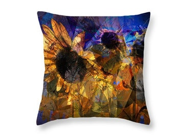 Abstract Sunflowers Blooming in a Michigan Field on a Throw Pillow No.00483 Fine Art decorative novelty pillow Home Décor cushion cover