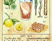 Botanical Navy Grog (Classic Tiki Cocktail) Print