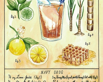 Botanical Navy Grog (Classic Tiki Cocktail) Print