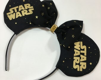 Star Wars Black Gold Mouse Ears with Bow - Mad Ears - MADE TO ORDER
