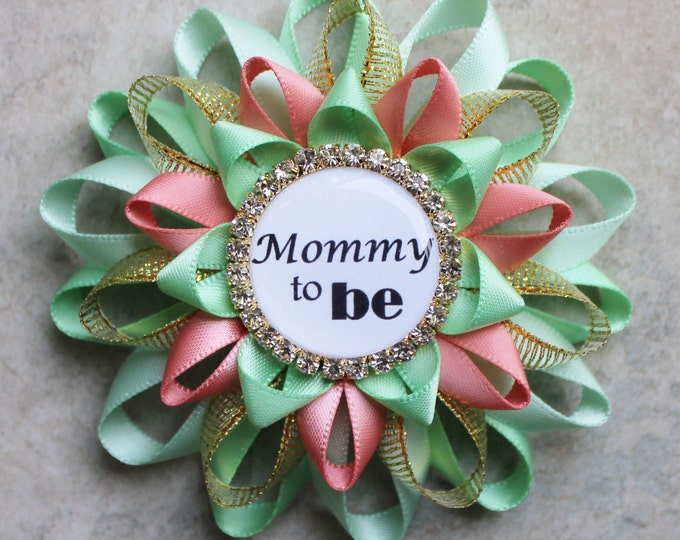 Mint and Coral Baby Shower Pins, Gender Reveal Decorations, Gender Neutral Baby Shower Corsage, Mint Green, Coral, Gold, Mommy to Be Pin