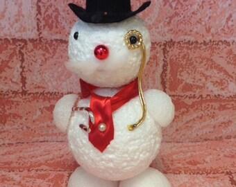 Vintage Snowman Figurine – Styrofoam Snowman - Snowman with Monocole