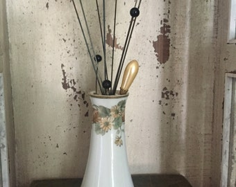 Antique Nippon Hat Pin Holder with Hat Pins, Hat Pin Vase, Vanity Accessory, Antique Collectibles, Estate Sale, antique hat pin