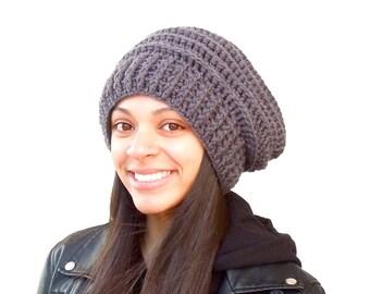 Crochet Slouchy Hat, Tam, Gray Hat, Ribbed, Beehive Hat, Women, Men, Teen, Tam, Color Charcoal