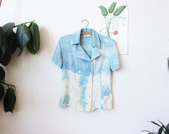 vintage indigo dyed silk top