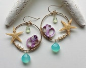 Starfish Beach Hoop Earrings, Purple Shell Earrings, Purple Aqua Hoops, Aqua Chalcedony Hoops, Prehnite Hoop Earrings, Boho Beach Hoops