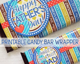 Happy Father's Day CHOCOLATE BAR Wrapper, World's Greatest Dad, Gift Idea Tag - Printable Instant Download