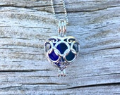 Mixed Blue and Deep Teal Glass Sterling Silver Heart Flower Locket Dark Light Irishby Wave of LIfe