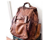 Vintage Worn Brown Leather Backpack / Large size