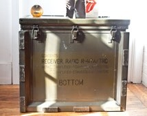 Military Metal Trunk / Fallout Shelter Supply Radio Case /  Metal Coffee Table Trunk