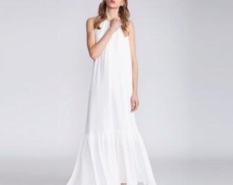 Boho chic wedding dress, Bridal Collar dress, Maxi boho dress, white Halter Dress, low back dress, white, wedding gown