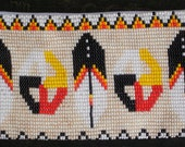 Native American Indian Beadwork 4 Directions Beaded Medicine Wheel Eagle Feather Design Zippered Coin Purse Wallet Clutch