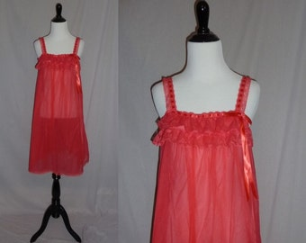 70s Sheer Red Nightie - Lace Ruffles - Satin Ribbon Trim - Val Mode Negligee - Vintage 1970s - S M L
