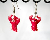 Glass Lampwork Red Lobster Earrings