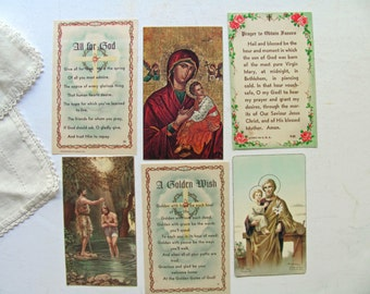 Vintage Holy Cards Prayer Card Mary Baby Jesus Icon Joseph St John Baptism God Italy Fratelli Bonella Catholic Religious Picture Prayer Book