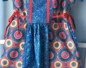 Girls Handmade  Dress, Size 7, blue and red, Polish Pottery pattern