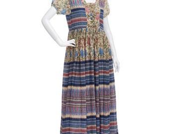 Vintage 80's Indian Earthy Sheer CRINKLE Cotton Gauze Ties Puff Sleeves Hippie Boho Empire Waist Summer Tiered Midi DRESS