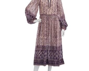 Vintage 70's Indian Sheer Ethnic Floral Paisley Cotton Gauze Balloon Sleeves Empire Waist Hippie Boho Gypsy Festival Tiered Midi