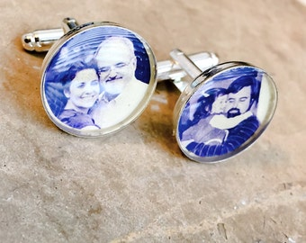 WATERPROOF Personalized Photo CuffLinks Customized with Your Photo - Photo Cuff Links - Memories Dad, Grandpa, Best Man, Groom, Always Heart
