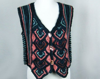 Hand Knit Arrowhead Vest, Cotton Ribbon, Wool, Mitered Knitting, Coral, Rust, Turquoise, Teal, Hand Dyed Yarns, Abalone Buttons, Handmade