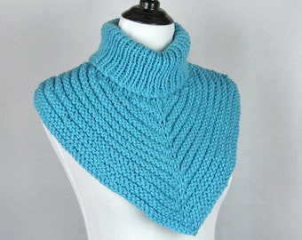 Turtleneck Cowl, Hand Knit, Merino Superwash Wool, Cozy Wrap, Turquoise, Original Design, Textured, Soft Bulky Knit, Handmade, Gift