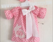 Monogram pink white polka dot bunny Dress Newborn 0-3 3-6 6-9 9-12 Month 12 Month 18 Month 2T 3T 4T 5T 6 White Photoshoot